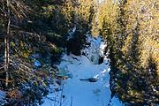 Cascade Falls, Cascade River State Park, Grand Marais, Minnesota, USA, on a cold January day.