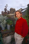 A portrait of Dan Pearson b 1964, an English garden designer, landscape designer, journalist and television presenter in the summer of 1990 on a London roofttop garden of his own creation, England. He is an expert in naturalistic perennial planting.