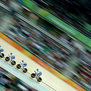 Track Cycling - Olympics: Day 6  The Italian team of  Simone Consonni, Michele Scartezzini, Filippo Ganna and Francesco Lamon in action during the Men's Team Pursuit race during the track cycling competition at the Rio Olympic Velodrome August 12, 2016 in Rio de Janeiro, Brazil. (Photo by Tim Clayton/Corbis via Getty Images)