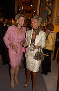 Mrs. Xavier Givaurda and Mrs. Bluey Mavrolean, Grosvenor House Antiques fair charity preview in aid of Macmillan Cancer Relief, 10 June 2004. ONE TIME USE ONLY - DO NOT ARCHIVE  © Copyright Photograph by Dafydd Jones 66 Stockwell Park Rd. London SW9 0DA Tel 020 7733 0108 www.dafjones.com