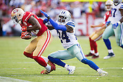 San Francisco 49ers wide receiver Keshawn Martin (82) catches a pass against Dallas Cowboys cornerback Morris Claiborne (24) at Levis Stadium in Santa Clara, Calif., on October 2, 2016. (Stan Olszewski/Special to S.F. Examiner)