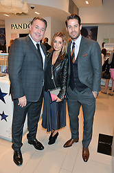 Left to right, President of Pandora UK PETER ANDERSEN and JAMIE & LOUISE REDKNAPP at the #PandoraWishes Campaign Launch Event, Pandora Marble Arch flagship store, London on 12th November 2014.