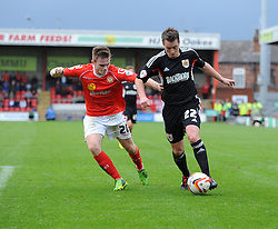 Bristol City's Nicky Shorey runs down the wing under pressure from Crewe Alexandra's Oliver Turton - Photo mandatory by-line: Dougie Allward/JMP - Tel: Mobile: 07966 386802 19/10/2013 - SPORT - FOOTBALL - Alexandra Stadium - Crewe - Crewe V Bristol City - Sky Bet League One