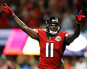 Julio Jones of the Atlanta Falcons celebrates after the first touchdown of the season against the Green Bay Packers at Mercedes Benz Stadium on Sep 17, 2017.