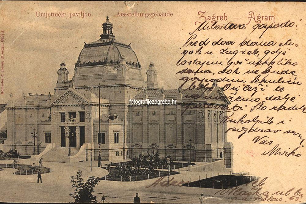 Zagreb = Agram : Umjetnički paviljon = Ausstellungsgebäude. <br /> <br /> ImpresumDresden : Römmler & Jonas, [19--.?].<br /> Materijalni opis1 razglednica : tisak ; 9 x 14 cm.<br /> NakladnikRömmler & Jonas<br /> Mjesto izdavanjaDresden (Njemačka)<br /> Vrstavizualna građa • razglednice<br /> ZbirkaGrafička zbirka NSK • Zbirka razglednica<br /> ProjektPozdrav iz Hrvatske<br /> Formatimage/jpeg<br /> PredmetZagreb –– Trg kralja Tomislava<br /> Umjetnički paviljon (Zagreb)<br /> SignaturaRZG-TOM-15<br /> Obuhvat(vremenski)20. stoljeće<br /> NapomenaPoleđina razglednice namijenjena je samo za adresu.<br /> PravaJavno dobro<br /> Identifikatori000952750<br /> NBN.HRNBN: urn:nbn:hr:238:706103 <br /> <br /> Izvor: Digitalne zbirke Nacionalne i sveučilišne knjižnice u Zagrebu