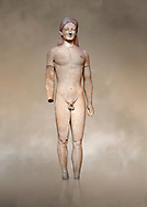Parian marble Ancient Greek Archaic statue of a kouros, found in Merenda, Attica, Circa 540-530 BC, Athens National Archaeological Museum. Cat no 4890.<br /> <br /> This funerary statue was found in the same pit as Phrasikleia cat no 4489. An important Archaic Period sculpture with a lively body rendering and one of the best examples of a kouros statue. .<br /> <br /> If you prefer to buy from our ALAMY STOCK LIBRARY page at https://www.alamy.com/portfolio/paul-williams-funkystock/greco-roman-sculptures.html . Type -    Athens    - into LOWER SEARCH WITHIN GALLERY box - Refine search by adding a subject, place, background colour, etc.<br /> <br /> Visit our ROMAN WORLD PHOTO COLLECTIONS for more photos to download or buy as wall art prints https://funkystock.photoshelter.com/gallery-collection/The-Romans-Art-Artefacts-Antiquities-Historic-Sites-Pictures-Images/C0000r2uLJJo9_s0