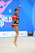 Piriyeva Zhala during qualifying ball at the Pesaro World Cup April 1, 2016. Zhala is an Azerbaijani individual rhythmic gymnast, she was born in May 10, 2000 Baku, Azerbaijan.