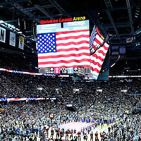 08 June 2016:  General view of the Quicken Loans Arena during the National Anthem prior to the Cleveland Cavaliers 120-90 victory over the Golden State Warriors, during Game Three of the 2016 NBA Finals at the Quicken Loans Arena, Cleveland, Ohio, USA.