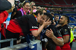 Mako Vunipola of Saracens celebrates the win with family after the match - Mandatory byline: Patrick Khachfe/JMP - 07966 386802 - 14/05/2016 - RUGBY UNION - Grand Stade de Lyon - Lyon, France - Saracens v Racing 92 - European Rugby Champions Cup Final.
