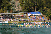 Bled, SLOVENIA. M8+,  Final GER Gold, GBR Silver, CAN Silver, AUS 4th, POL 5th, NED 6th, GBR Bow Nathaniel REILLY-O'DONNELL, Cameron NICHOL, James FOAD, Alwx PARTRIDGE, Mohamed SBIHI, Gregory SEARLE, Tom RANSLEY, Daniel RITCHIE and cox Phelan HILL,  2011 FISA World Rowing Championships, Lake Bled. Thursday  01/09/2011   [Mandatory Credit; Intersport Images]