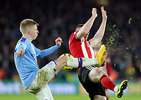 Manchester City's Oleksandr Zinchenko battles with Sheffield United's John Lundstram <br /> <br /> Photographer Rich Linley/CameraSport<br /> <br /> The Premier League - Sheffield United v Manchester City - Tuesday 21st January 2020 - Bramall Lane - Sheffield<br /> <br /> World Copyright © 2020 CameraSport. All rights reserved. 43 Linden Ave. Countesthorpe. Leicester. England. LE8 5PG - Tel: +44 (0) 116 277 4147 - admin@camerasport.com - www.camerasport.com