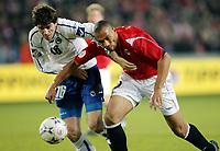 Fotball , 24 . mars 2007 , EM-kvalifisering , Gruppe C , Norge - Bosnia Herzegovina 1-2<br /> John Carew , Norge og Ivan Pandza , Bosnia<br /> <br /> Norway