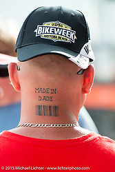 """""""Made in Dade"""" (jail!) at Cole Slaw wrestling day at the Cabbage Patch during Daytona Beach Bike Week 2015. FL, USA. Wednesday, March 11, 2015.  Photography ©2015 Michael Lichter."""