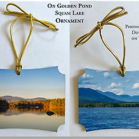"""""""On Golden Pond"""" Squam Lake Ornament. Approx 3x3""""<br /> Two photographic prints on thick stock with gold thread for hanging.<br /> Proudly Made in USA"""