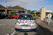 a british car decorated with 'come on England' is seen parked up in the early morning of the match at a service station on the route between Calais and Lens as England supporters make the short drive over from the uk. Euro 2016, group B , England v Wales at Stade Bollaert -Delelis  in Lens, France on Thursday 16th June 2016, pic by  Andrew Orchard, Andrew Orchard sports photography.