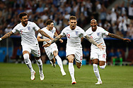Kieran Trippier of England celebrates after his goal with Kyle Walker, Ashley Young during the 2018 FIFA World Cup Russia, semi-final football match between Croatia and England on July 11, 2018 at Luzhniki Stadium in Moscow, Russia - Photo Thiago Bernardes / FramePhoto / ProSportsImages / DPPI