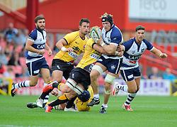 Bristol Flanker Ross Rennie is tackled  - Photo mandatory by-line: Joe Meredith/JMP - Mobile: 07966 386802 - 21/09/2014 - SPORT - FOOTBALL - Bristol - Ashton Gate - Bristol Rugby v Cornish Pirates - Greene King IPA Championship