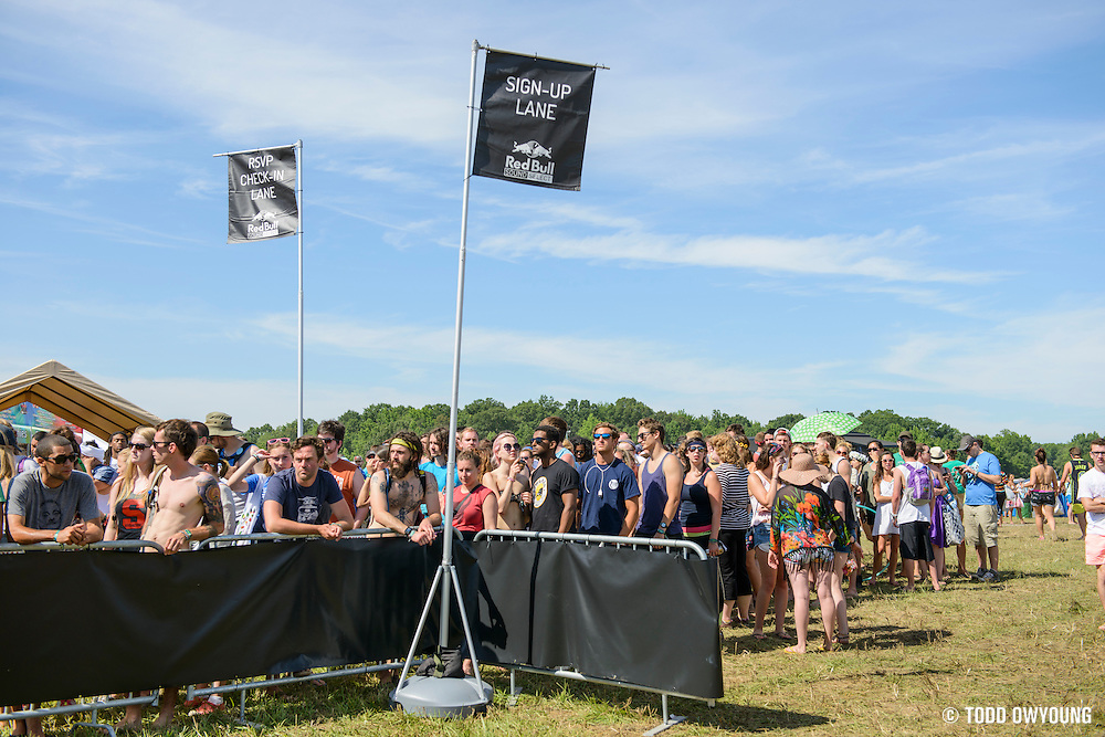 Attendees at the Red Bull Breakfast Club and Sound Select stage at the Firefly Music Festival in Dover, DE on June 20, 2014.