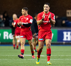 Brad Barritt of Saracens applauds the fans<br /> <br /> Photographer Simon King/Replay Images<br /> <br /> European Rugby Champions Cup Round 4 - Cardiff Blues v Saracens - Saturday 15th December 2018 - Cardiff Arms Park - Cardiff<br /> <br /> World Copyright © Replay Images . All rights reserved. info@replayimages.co.uk - http://replayimages.co.uk