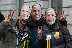 Supporters of James Matthews at Westminster Magistrates Court where he faces a charge of attending a place used for terrorist training, under the Terrorism Act 2006, after fighting against ISIS with the Kurdish YPG militia. London, February 14 2018.
