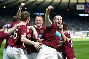 William Hill Scottish FA Cup Semi Final CELTIC FC v HEART OF MIDLOTHIAN FC Season 2011-12.15-04-12...HEARTS PLAYERS CELEBRATE HEARTS 2-1 WIN   during the William Hill Scottish FA Cup Semi Final tie between CELTIC FC and HEART OF MIDLOTHIAN FC with the Winner facing   in this years Scottish Cup Final in May...At Hampden Park Stadium , Glasgow..Sunday 15th April 2012.Picture Mark Davison/ Prolens Photo Agency / PLPA