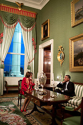 President Barack Obama talks with House Democratic Leader Nancy Pelosi, D-Calif., in the Green Room of the White House, Feb. 4, 2015. (Official White House Photo by Pete Souza)<br /> <br /> This official White House photograph is being made available only for publication by news organizations and/or for personal use printing by the subject(s) of the photograph. The photograph may not be manipulated in any way and may not be used in commercial or political materials, advertisements, emails, products, promotions that in any way suggests approval or endorsement of the President, the First Family, or the White House.