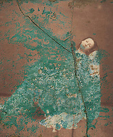 Cracked woman endlessly being devoured by a blob of ancient patina.