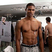 Milan, Italy, June the 23rd 2012. Backstage at Zegna show In Milan, during the Men's Fashion week. Reportage for Cosmopolitan Germany.
