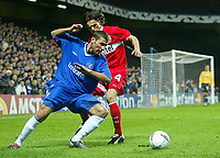 Photo: Scott Heavey.<br /> Chelsea v VFB Stuttgart. Champions League, 5th Round, Second Leg. 09/03/2004.<br /> Adrian Mutu causes mayhem during the few minutes he was on the pitch