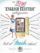 The new English Electric refrigerator advert advertising in Country Life magazine UK 1951