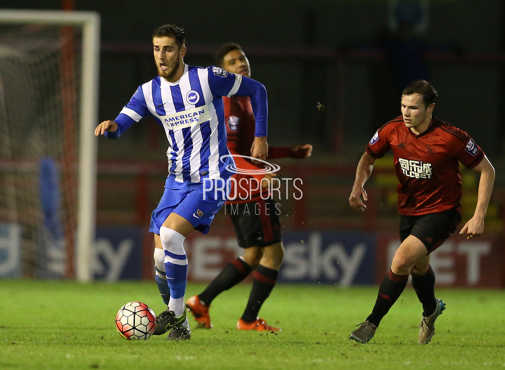 Tom Dallison, Brighton defender during the Barclays U21 Premier League match between Brighton U21 and U21 West Bromwich Albion at the Checkatrade.com Stadium, Crawley, England on 25 January 2016.