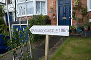 Barnard Castle 188 miles political satire sign placed in a front garden in Moseley on 3rd June 2020 in Birmingham, United Kingdom. The PMs senior political advisor Dominic Cummings had allegedly broken the rules of lockdown during the coronavirus pandemic by driving 25 miles to Barnard Castle, although Cummings said that the drive was to test his eyesight while driving.