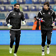 Besiktas's goalkeepers Gunay Guvenc (L) and Tolga Zengin (R) during their Turkish Super League soccer match Kayserispor between Besiktas at the Kadir Has Stadium in Kayseri Turkey on Saturday 05 December 2015. Photo by Kurtulus YILMAZ/TURKPIX