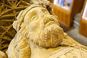 Close up effigy Athelstan Saxon King fifteenth century memorial tomb, Malmesbury abbey, Wiltshire, England, UK