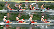 2004 FISA World Cup Regatta Lucerne Switzerland. 18.06.04..Photo Peter Spurrier.Men's four - 'North American Derby'   Top  USA M4- CAN M4- Rowing Course, Lake Rottsee, Lucerne, SWITZERLAND. [Mandatory Credit: Peter Spurrier: Intersport Images]   <br /> USA M4-  Bow, Jason READ, Daniel BEERY, Beau HOOPMAN and Bryan VOLPENHEIN CAN M4- bow, Cameron BAERG, Tom HERSCHMILLER, Jake WETZEL and Barney WILLIAMS.