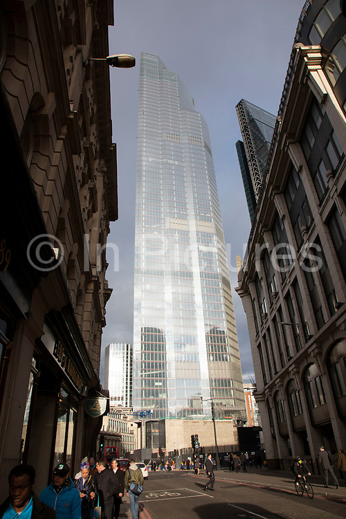 Old and new architecture in the City of London with older classical buildngs and the modernism of 100 Bishopsgate 16th January 2020 in London, England, United Kingdom. As the financial district grows in height, the architecture has changed the face of London with many different companies occupying the various floors and levels, some of which remain empty as overseas investments.