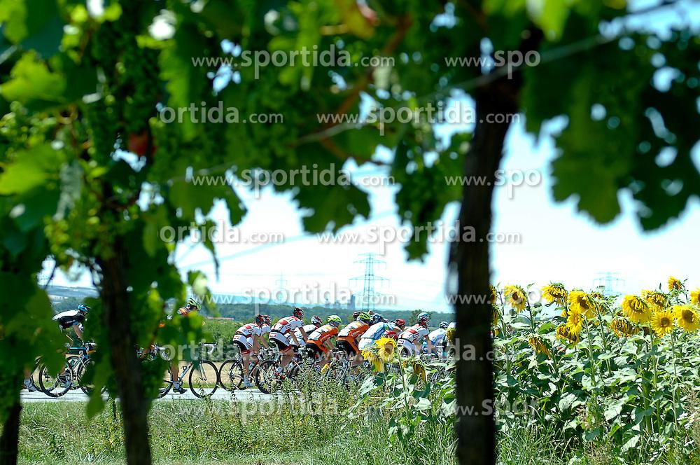 10.07.2011, AUT, 63. OESTERREICH RUNDFAHRT, 8. ETAPPE, PODERSDORF-WIEN, im Bild das Peloton nach dem Start in Podersdorf auf dem Weg nach Wien// during the 63rd Tour of Austria, Stage 8, 2011/07/10, EXPA Pictures © 2011, PhotoCredit: EXPA/ S. Zangrando