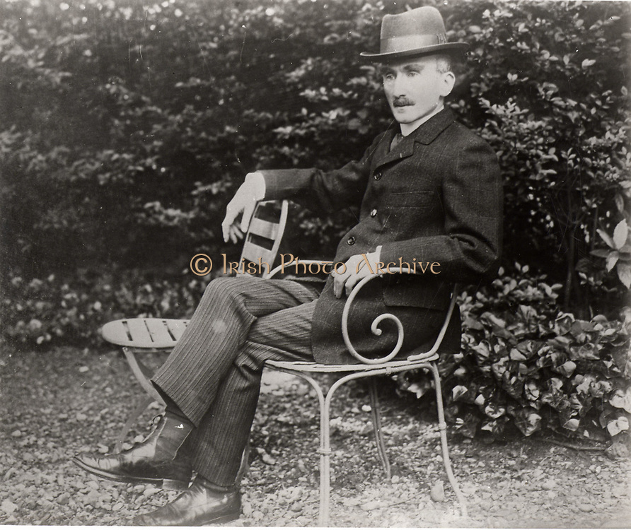Henri Bergson (1859-1941) French philosopher, sitting in his garden.
