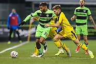 Forest Green Rovers Reuben Reid(26) holds off Oxford United's Luke Garbutt(3) during the The FA Cup 1st round replay match between Forest Green Rovers and Oxford United at the New Lawn, Forest Green, United Kingdom on 20 November 2018.