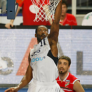 Efes Pilsen's Bootsy THORNTON (L) during their Turkish Basketball Legague Play-Off qualifying second match Efes Pilsen between Pinar Karsiyaka at the Sinan Erdem Arena in Istanbul Turkey on Friday 13 May 2011. Photo by TURKPIX