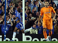Photo: Paul Thomas.<br /> Chelsea v Barcelona. UEFA Champions League, Group A. 18/10/2006.<br /> <br /> Didier Drogba (11) of Chelsea celebrates his goal.