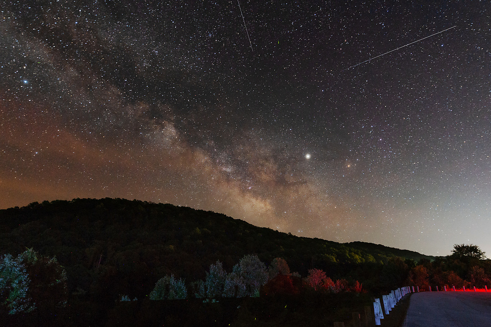 Shooting stars and the Milky Way are seen at an overlook along Rt 19 near Birch River in central West Virginia, W.V., on June 30, 2019.