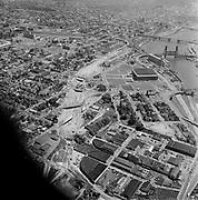 Y-620608C-01.  Aerials of Colesium and area of NE between Broadway & Steel Bridges. June 8, 1962