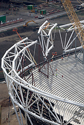 Olympic Stadium. Aerial image of the Olympic Stadium with the final compression truss being moved into place. Picture taken on 16 July 09 by Anthony Charlton