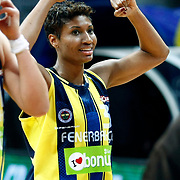 Fenerbahce's Angel MCoughtry celebrate victory during their Turkish Basketball woman league derby match Fenerbahce between Galatasaray at Ulker Sports Arena in Istanbul, Turkey, wednesday, December 26, 2012. Photo by Aykut AKICI/TURKPIX