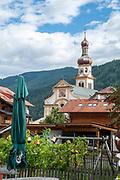 Fulpmes Church Tower. Fulpmes im Stubaital, Tyrol, Austria