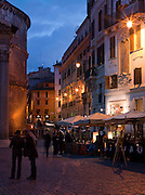 Restaurants next to the Pantheon at night on Via della Rotonda, Rome, Italy