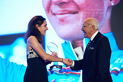 Sofia Bertizzolo (ITA) receives her award for winning the youth classification in the UCI Women's WorldTour at The UCI Cycling Gala 2018 in Guilin, China on October 21, 2018. Photo by Sean Robinson/velofocus.com