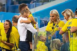 July 7, 2018 - Samara, RUSSIA - 180707 Mikael Lustig of Sweden hugs his child after the FIFA World Cup quarter final match between Sweden and England on July 7, 2018 in Samara..Photo: Joel Marklund / BILDBYRÃ…N / kod JM / 87755 (Credit Image: © Joel Marklund/Bildbyran via ZUMA Press)