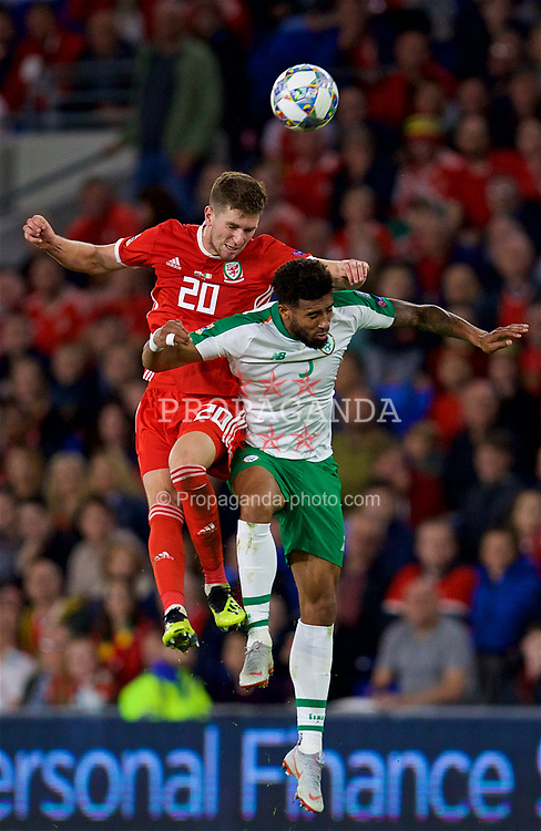CARDIFF, WALES - Thursday, September 6, 2018: Wales' Chris Mepham and Republic of Ireland's Cyrus Christie during the UEFA Nations League Group Stage League B Group 4 match between Wales and Republic of Ireland at the Cardiff City Stadium. (Pic by David Rawcliffe/Propaganda)